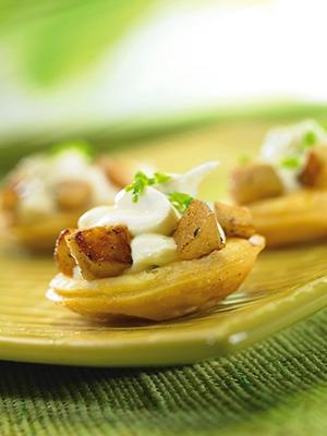 Tartelettes aux pommes caramélisées sur chèvre frais