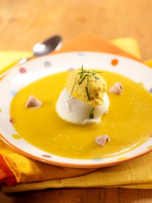 Oeufs bénédictines au foie gras sur crémeux de potimarron